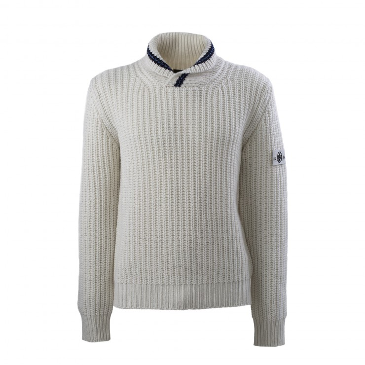 Men's White Officine Alfieri Maserati Crossover Neck Sweater