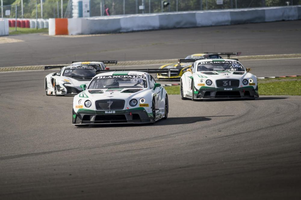 The pair of Bentley Continental GT3s