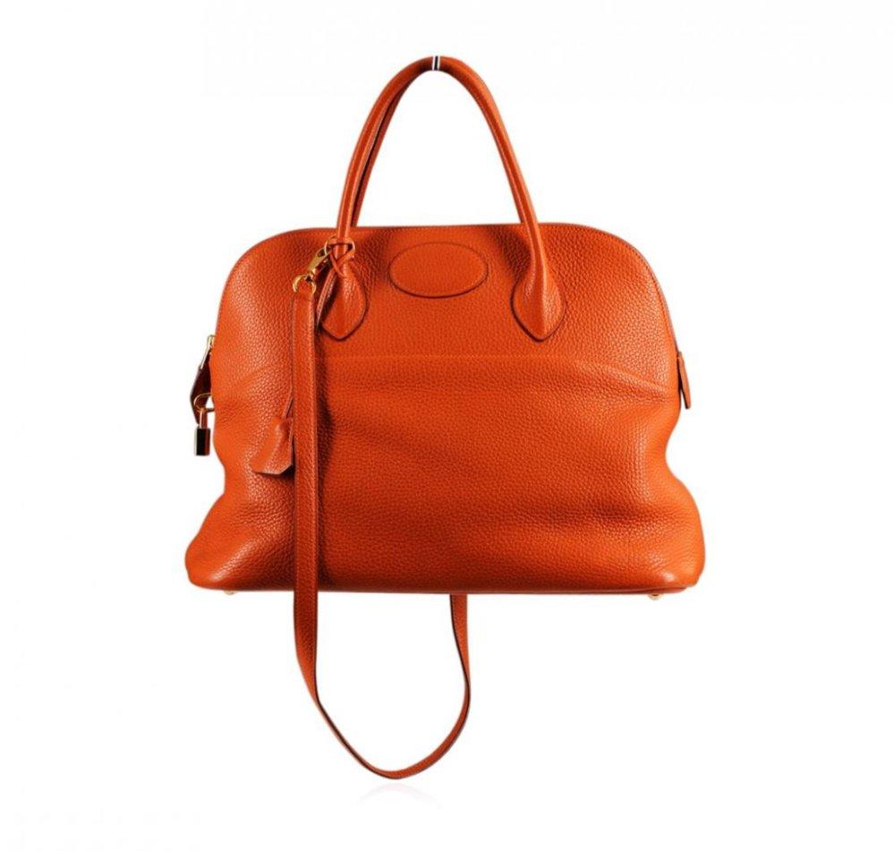 Authentic Hermes Orange Togo Leather Bolide Bag 001