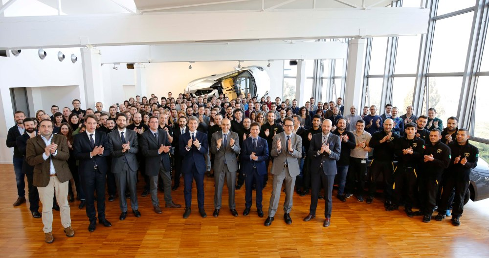 The New 150 Lamborghini Employees Together with Pres. & Ceo S. Winkelmann
