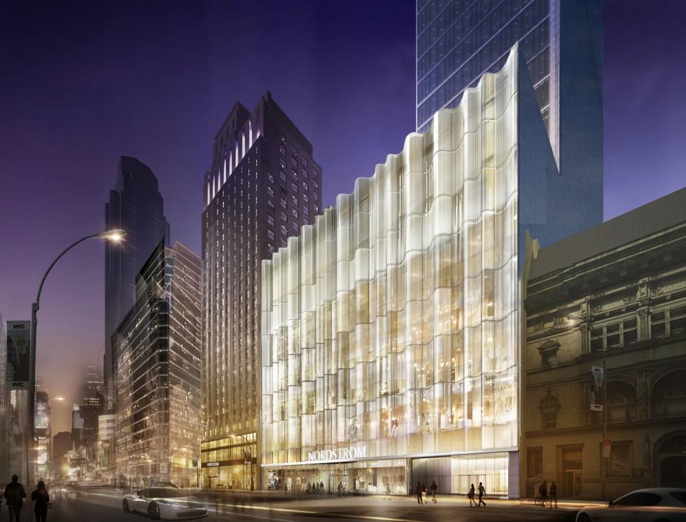Nordstrom Manhattan Flagship W57th Glass Waveforms at Night
