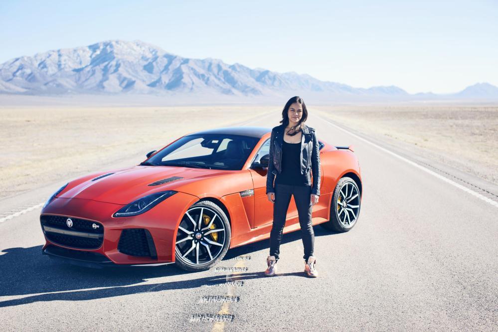 Emerging Magazine - Michelle Rodriguez Drives New 200mph Jaguar F-TYPE SVR 001